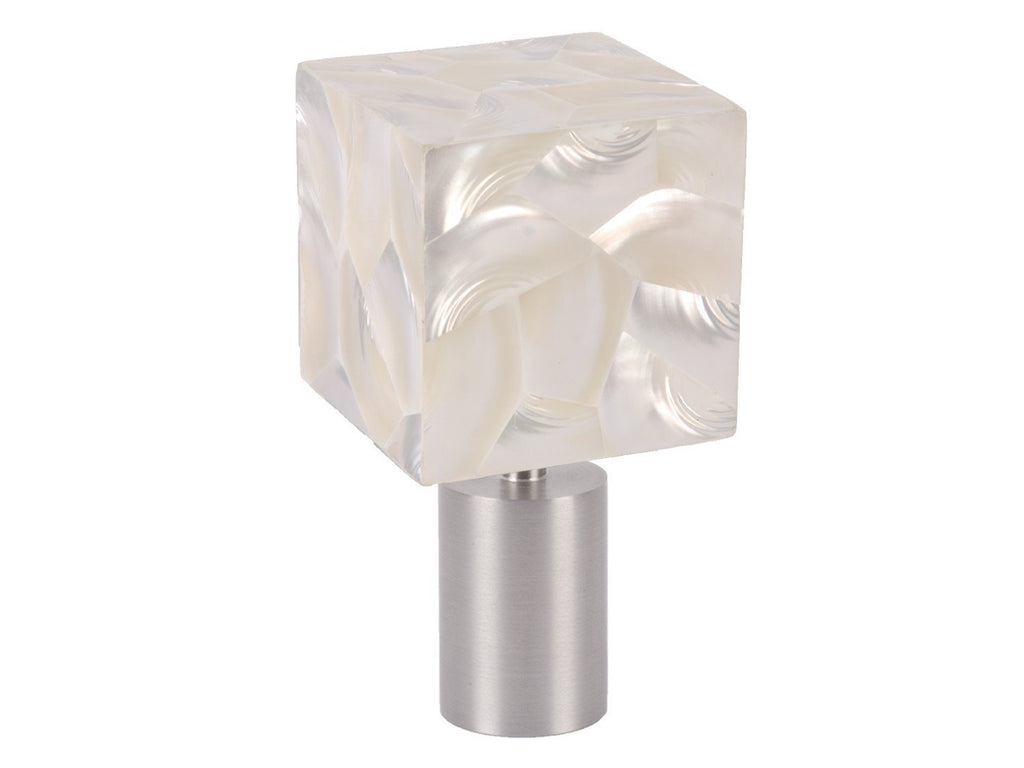 Designer curtain pole finial | Troca Satin white riva cube shell with steel spigot