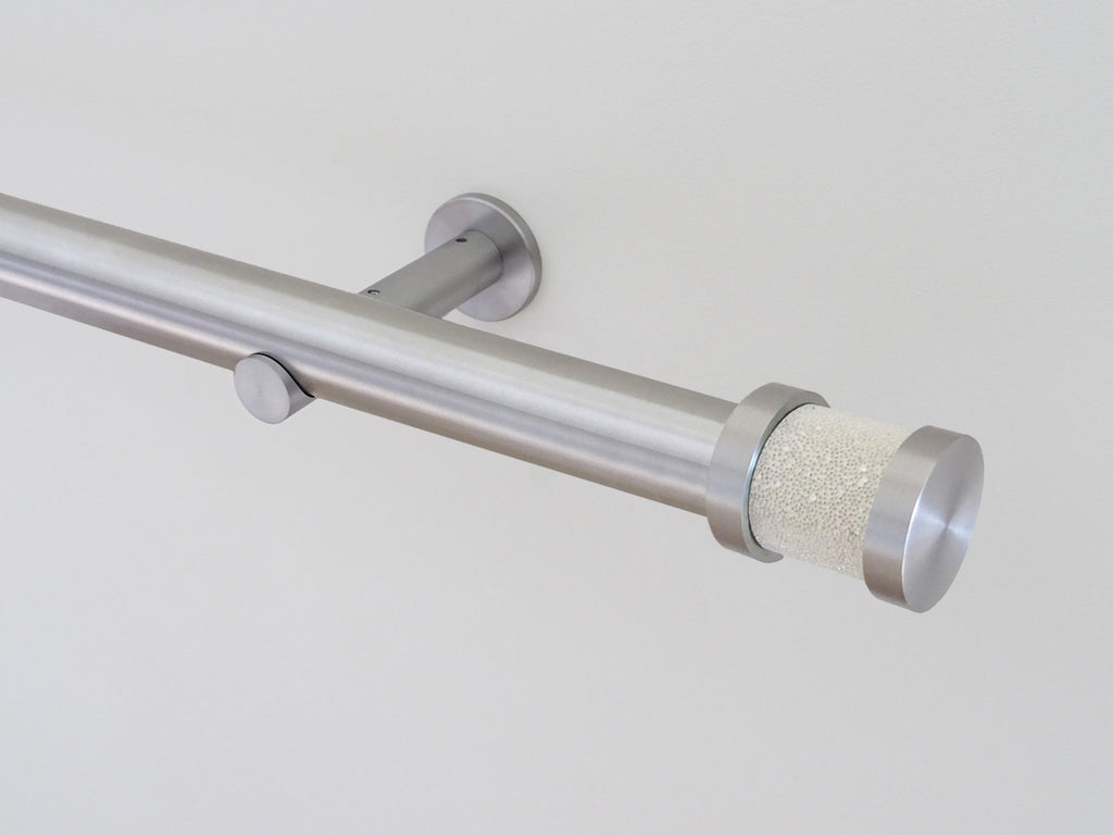 30mm diameter stainless steel curtain pole collection with champagne Groove finials
