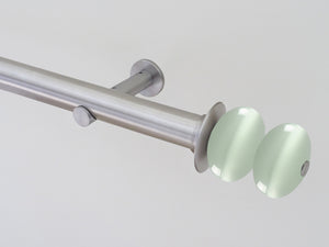 Stainless steel curtain pole 30mm diameter with opal white glass moonstone finials | Walcot House