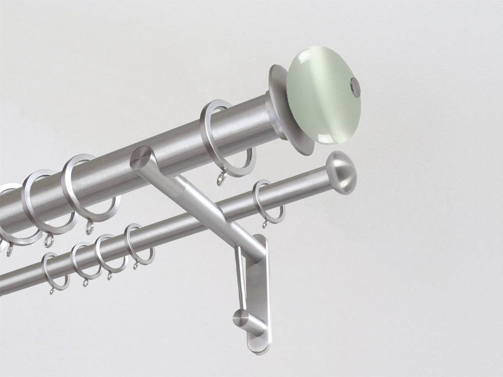 30mm diameter stainless steel double curtain pole system with Glass Moonstone finials in Opal