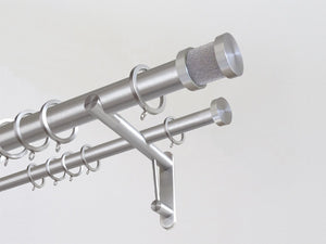 "30mm diameter stainless steel double curtain pole system with Groove finials in ""oyster"""