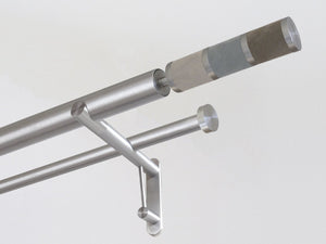 30mm diameter stainless steel double curtain pole system with Combination finials in suede