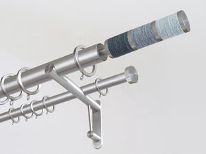 30mm diameter stainless steel double curtain pole system with Combination finials in Waterfall