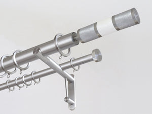 "30mm diameter stainless steel double curtain pole system with Combination finials in ""Winter"""
