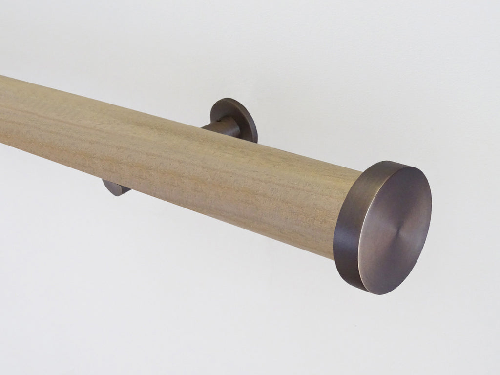 Cotswold oak stained wooden tracked curtain pole  by Walcot House