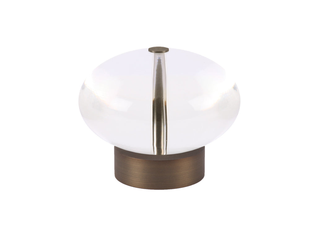 Acryllic ellipse finial in brushed bronze curtain pole end