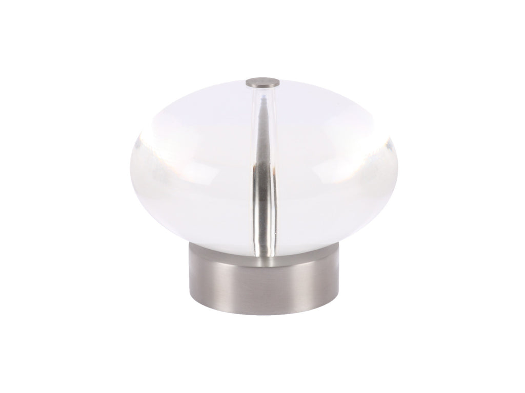 Acryllic ellipse finial in stainless steel curtain pole end