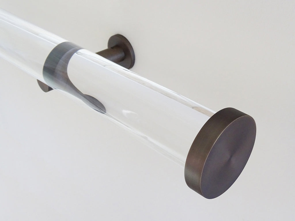 50mm diameter acrylic curtain pole with bronze mini disc finials and bronze brackets