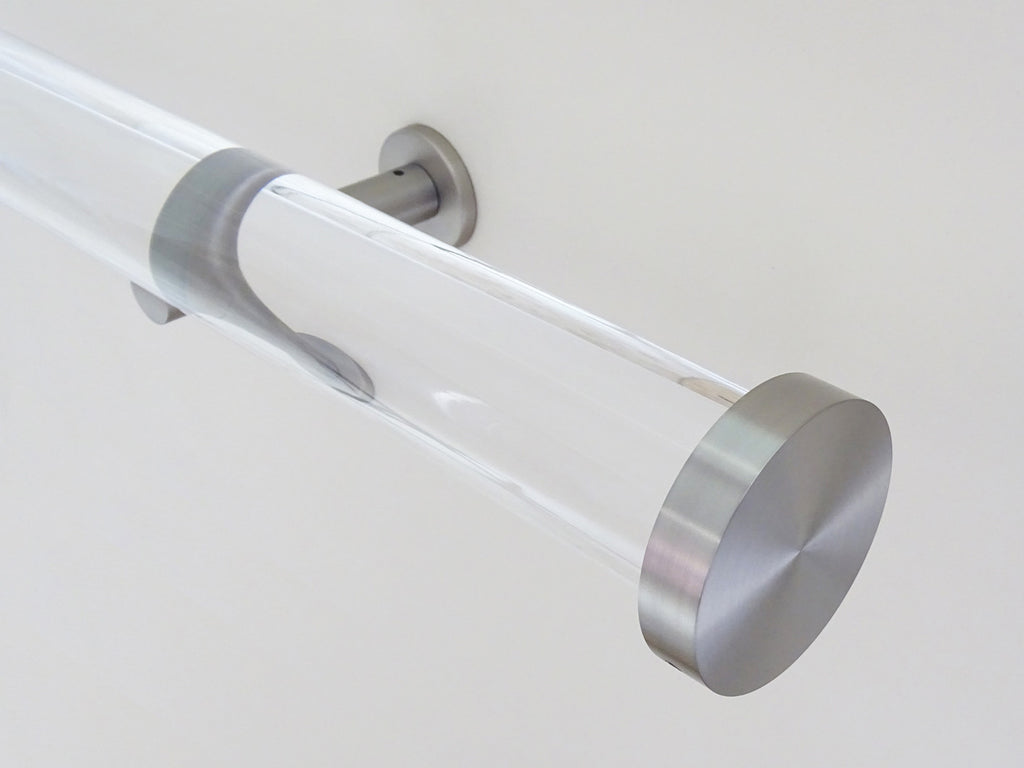 50mm diameter acrylic curtain pole with steel mini disc finials and stainless steel brackets