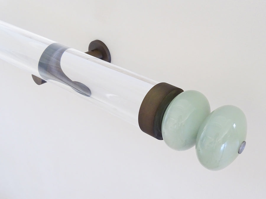 Glass double moonstone finial with brushed bronze collar for 50mm dia. curtain poles