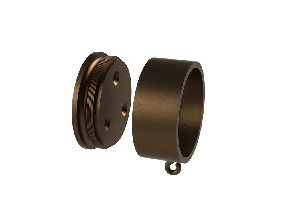 Bronze recess bracket for 50mm metal, wooden or wrapped curtain pole
