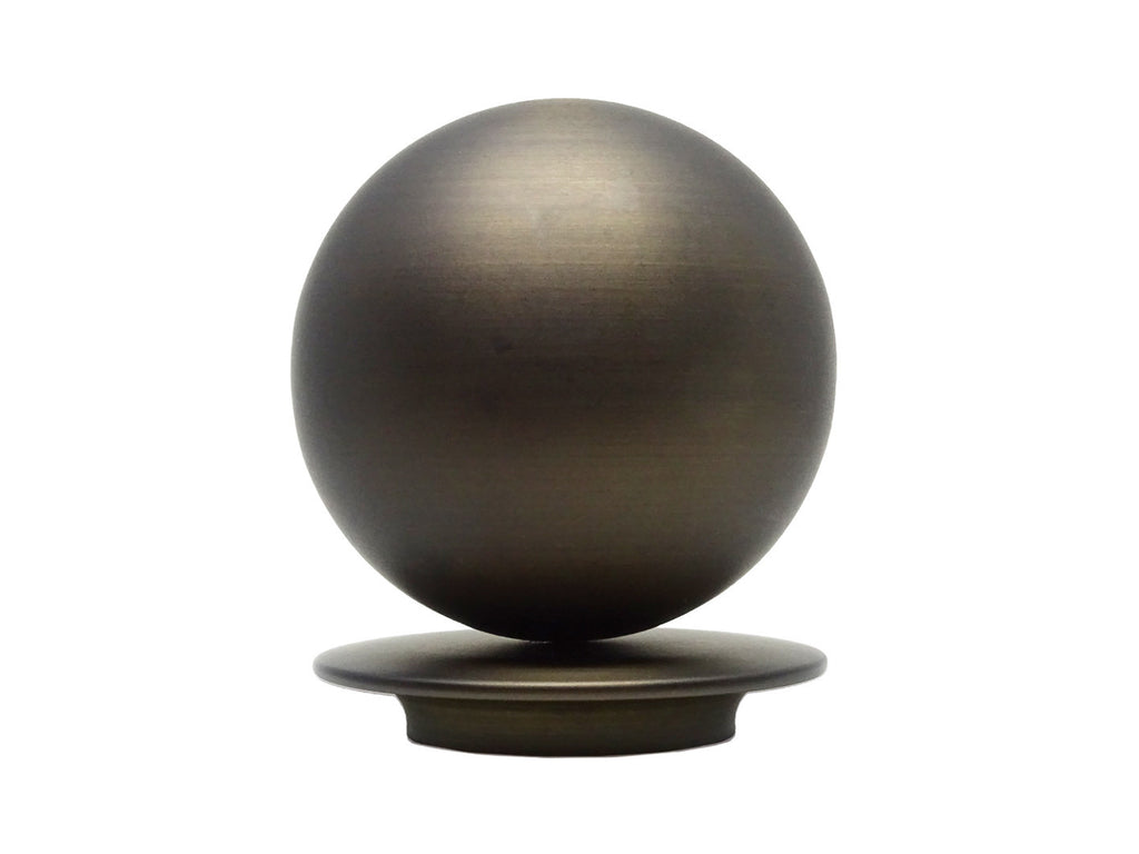 Metal Ball finial for 50mm dia. curtain poles in brushed bronze - Profile view