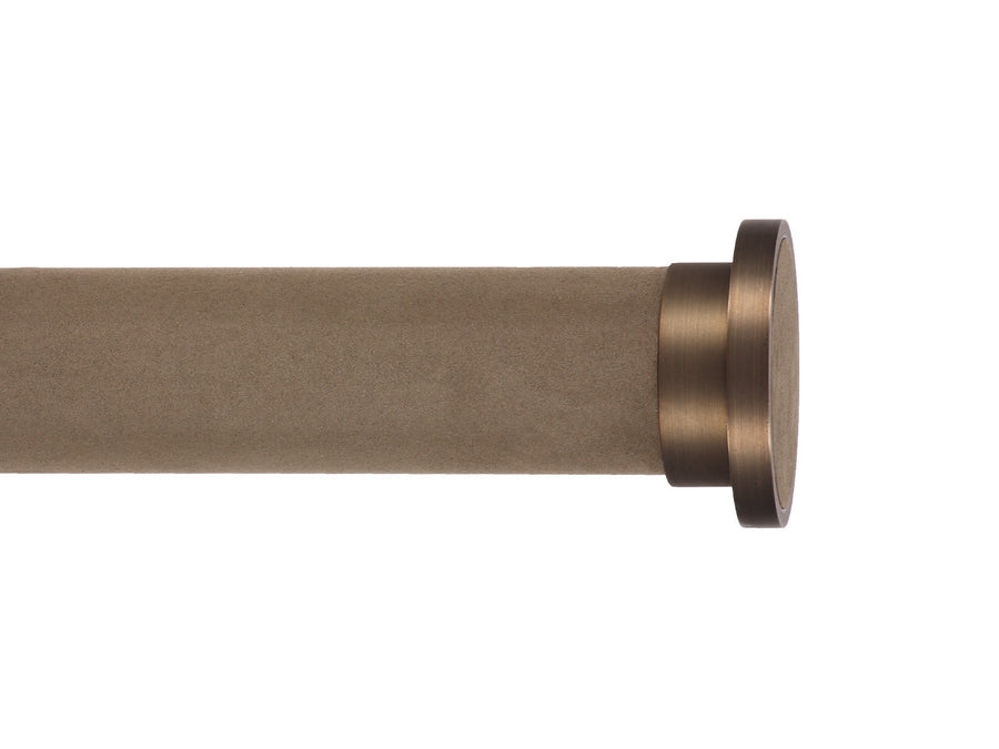 Brushed Bronze disc curtain pole finial by Walcot House