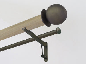50mm dia. cotswold oak stained wood double curtain pole with brushed bronze metal ball finials