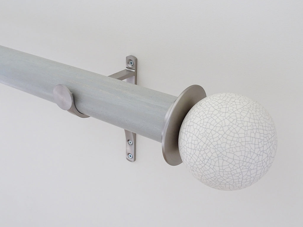 "Crackle finial with brushed steel adapter mounted on 50mm ""wood pidgeon"" stained wood pole set"