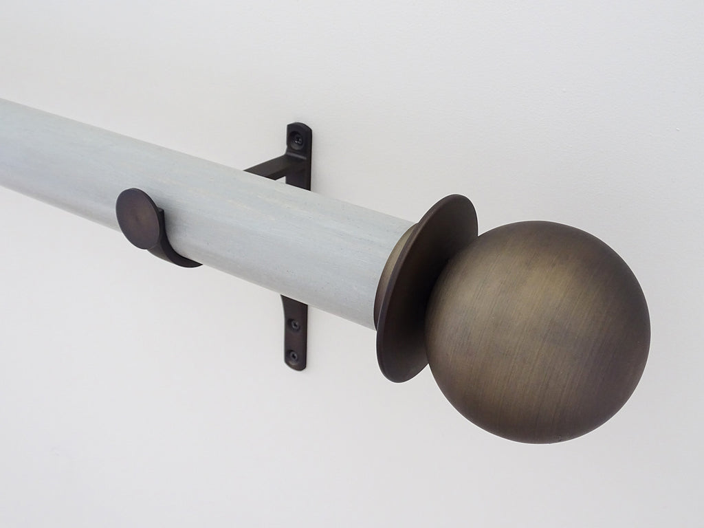 "Metal ball finial in brushed bronze, mounted on 50mm ""wood pidgeon"" stained wood pole set"