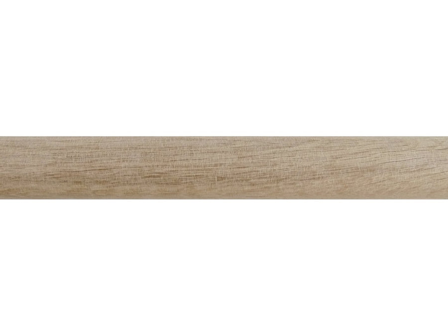 Real solid waxed natural oak curtain pole in 50mm diameter, hand finished in the UK, with integrated track | Walcot House