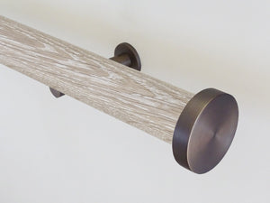 Real solid limed oak curtain pole in 50mm diameter, hand finished in the UK | Walcot House