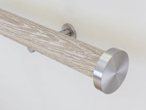 Real solid tracked limed oak curtain pole in 50mm diameter, hand finished in the UK | Walcot House
