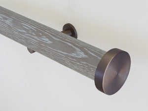 Real solid limed grey oak curtain pole in 50mm diameter, hand finished in the UK | Walcot House