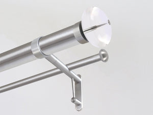 50mm diameter stainless steel double metal curtain pole with acrylic ellipse finials