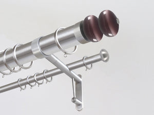 50mm diameter stainless steel double metal curtain pole with glass moonstone finials in Mulberry