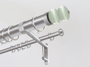 50mm diameter stainless steel double metal curtain pole with glass moonstone finials in Opal