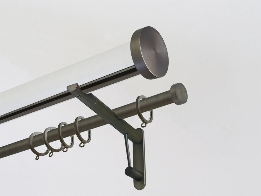 50mm diameter tracked and wrapped lucent double curtain pole set with steel mini disc finials