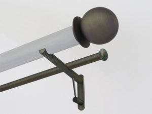 50mm dia. wood pigeon stained wood double curtain pole with brushed bronze metal ball finials