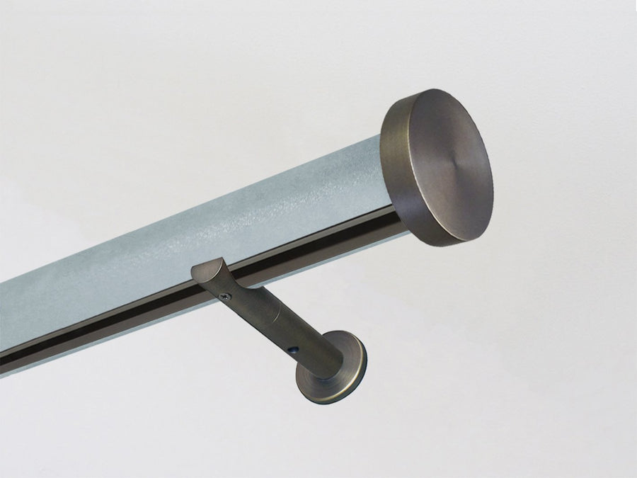 Arctic blue wrapped & tracked curtain pole 50mm diameter | Walcot House