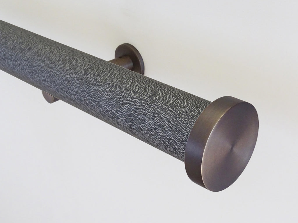 shagreen textured black pepper tracked curtain pole by Walcot House
