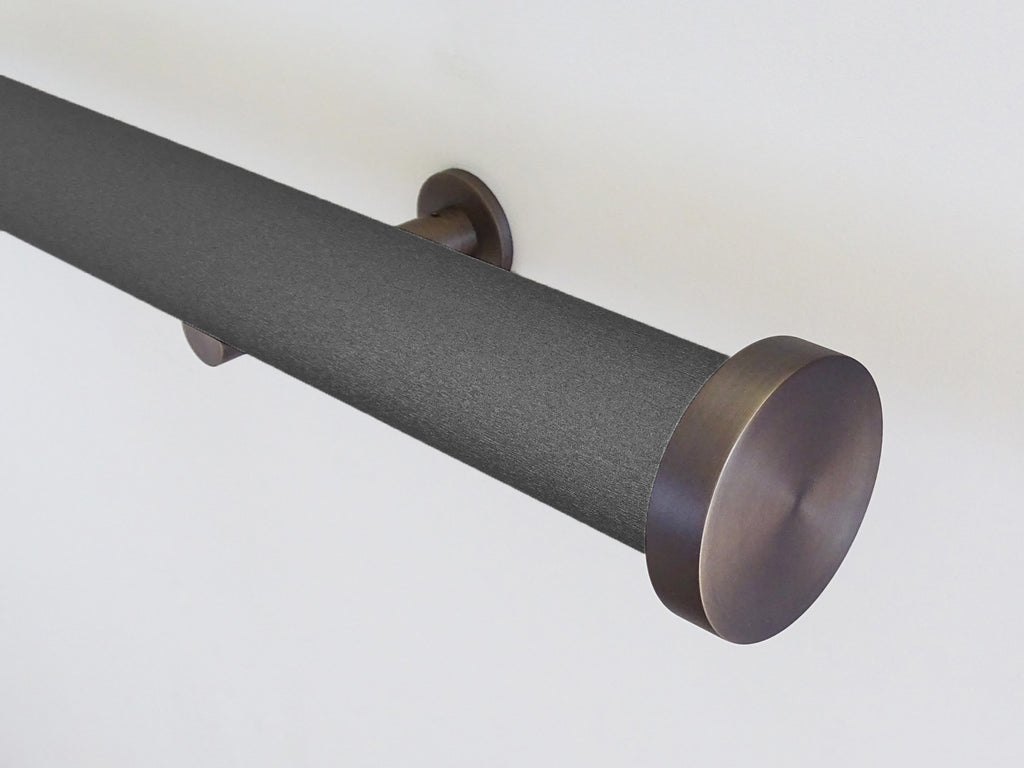50mm wrapped and tracked coal curtain pole by Walcot House