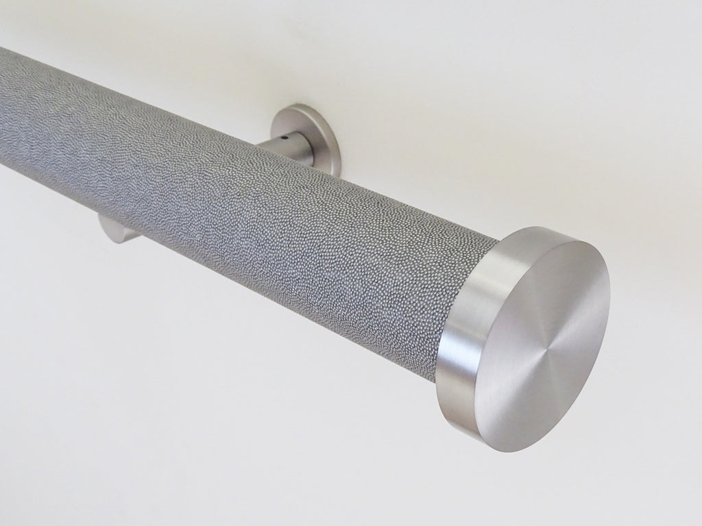 shagreen textured wrapped and tracked dusk curtain pole by Walcot House