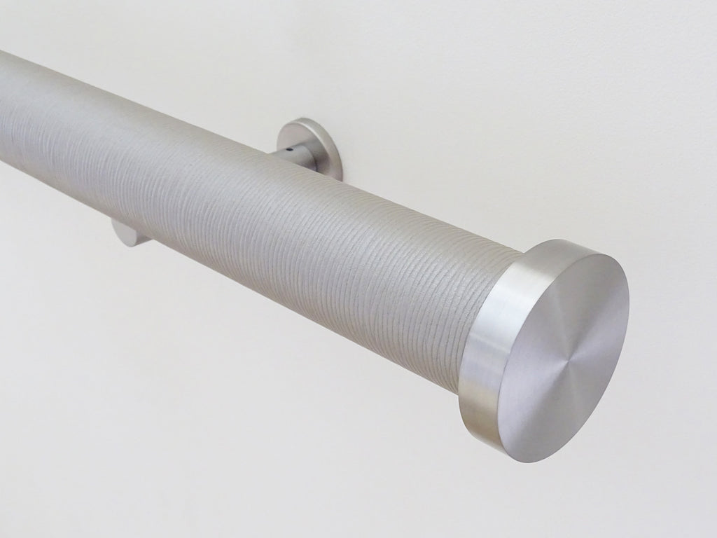 wrapped and tracked curtain pole in marcasite by Walcot House