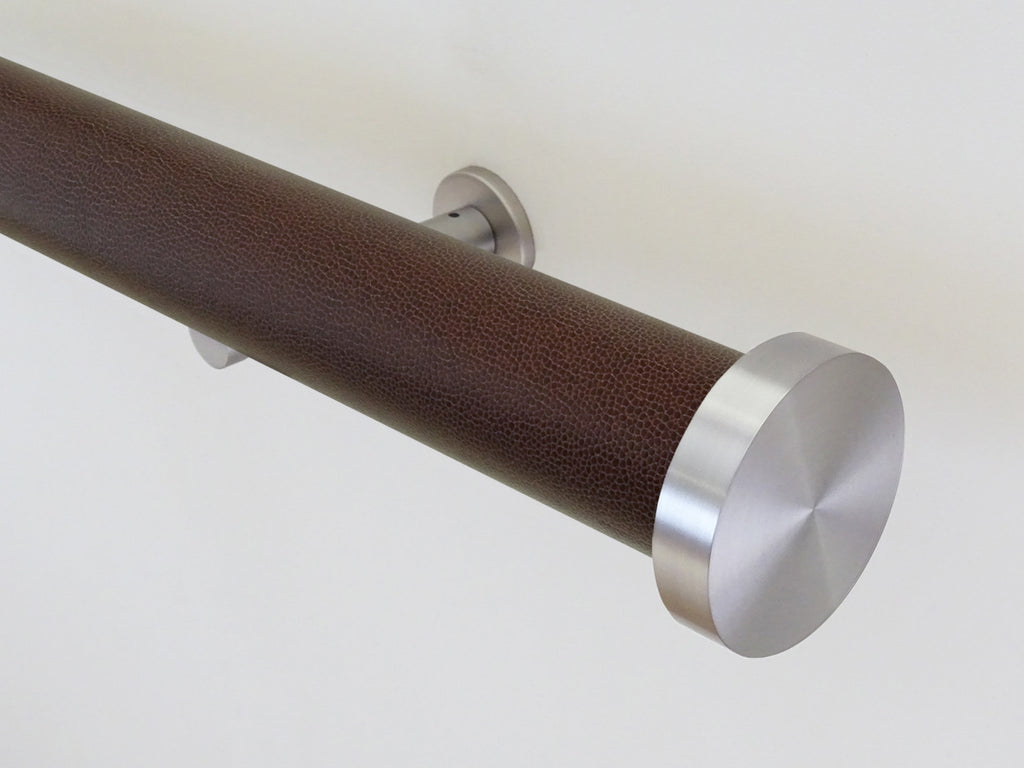 """Marron"" textured 50mm tracked curtain pole by Walcot House"