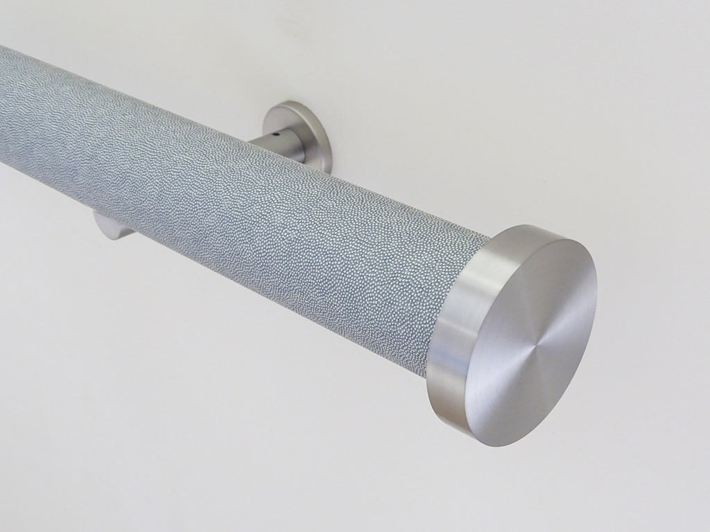 50mm Stainless steel mini disc finial on moonlight wrapped curtain pole
