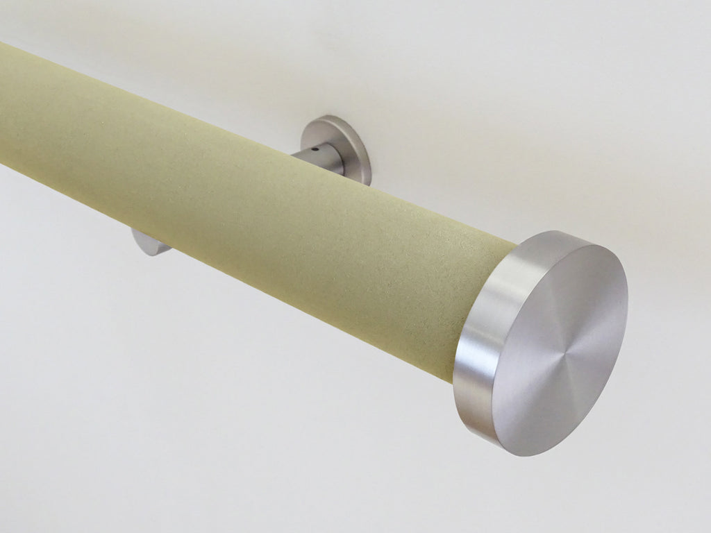"Faux Suede ""New Acorn"" 50mm tracked curtain pole by Walcot House"