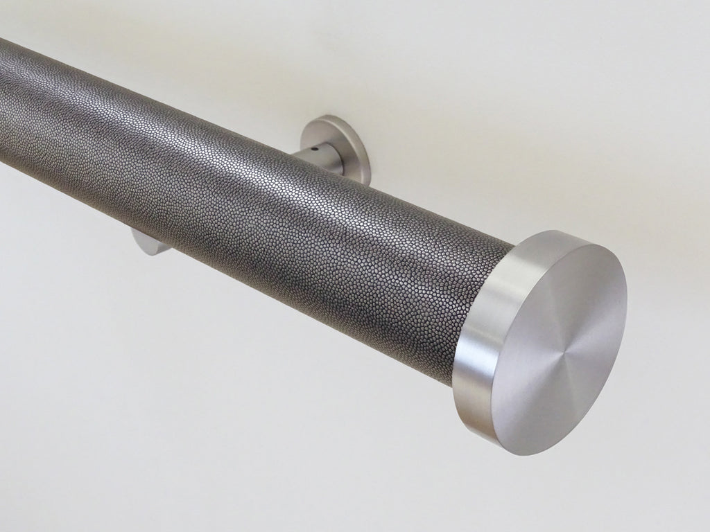 """Onyx"" textured 50mm tracked curtain pole by Walcot House"