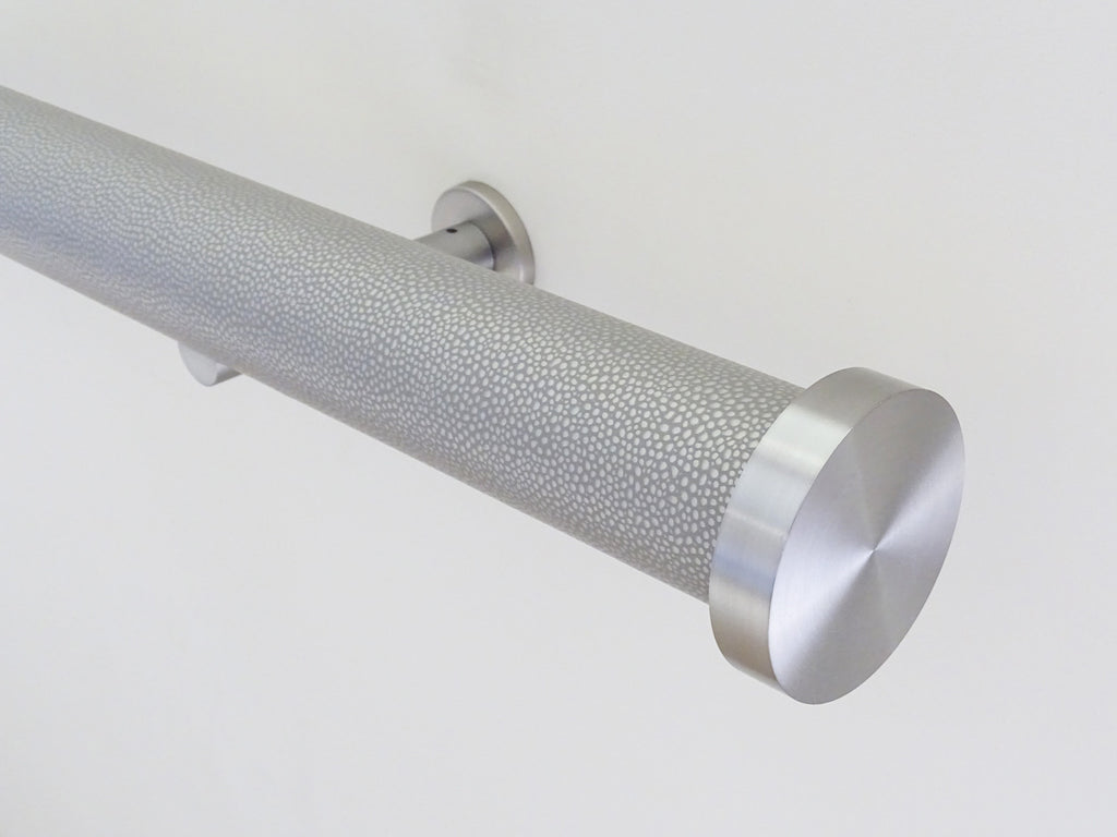 wrapped and tracked curtain pole in pebble by Walcot House