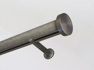"""Purbeck"" textured 50mm tracked curtain pole bronze track by Walcot House"