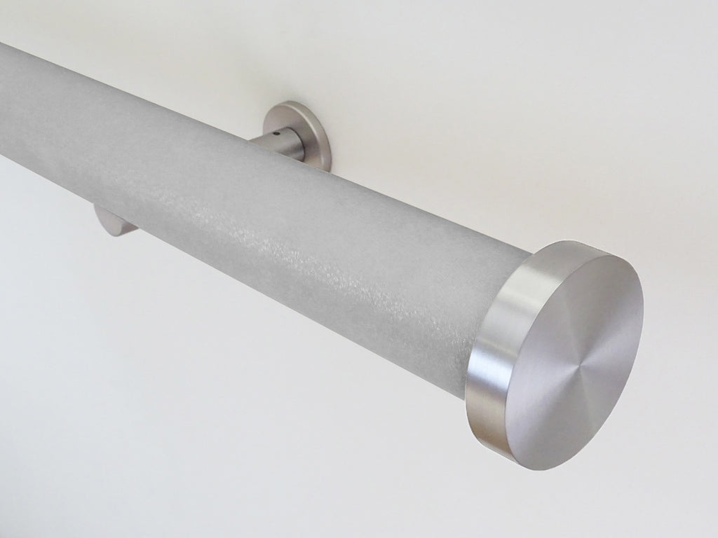 wrapped and tracked curtain pole in silver shadow by Walcot House