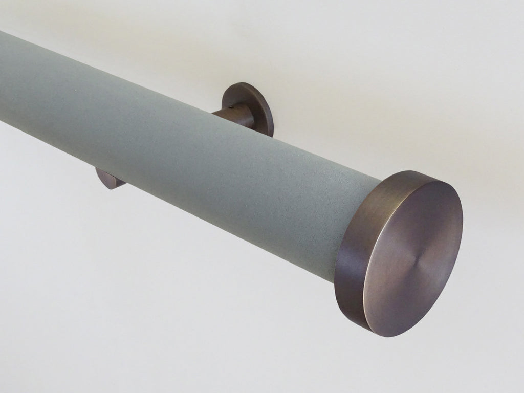 "Faux Suede ""Slate"" 50mm tracked curtain pole by Walcot House"