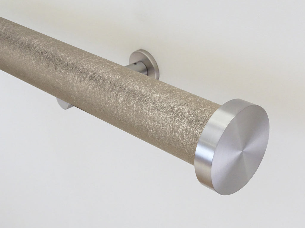 """Spun Gold"" metallic textured 50mm tracked curtain pole by Walcot House"