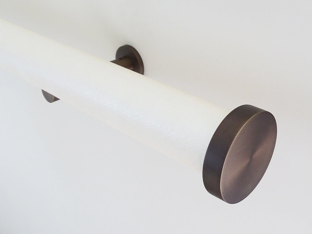 wrapped and tracked curtain pole in white frost by Walcot House