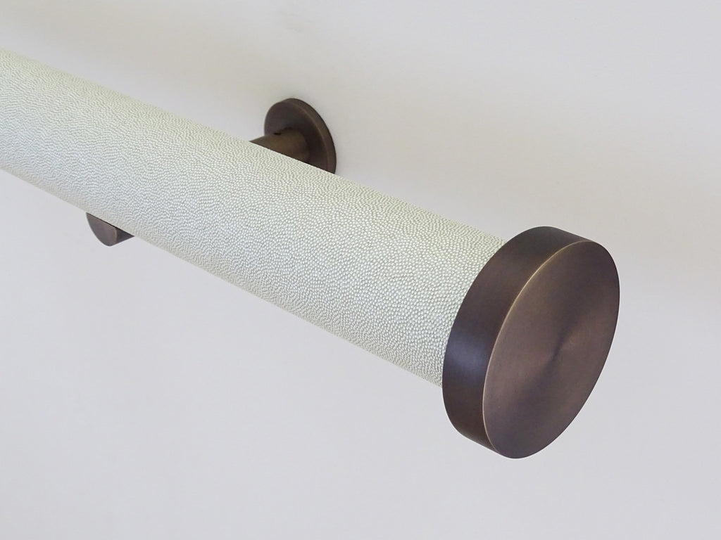 shagreen textured white pepper tracked curtain pole by Walcot House