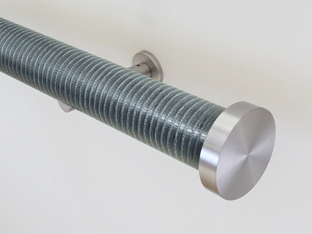 """Zinc"" metallic textured 50mm tracked curtain pole by Walcot House"
