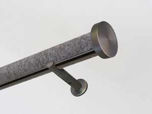 Designer tracked curtain pole 50mm covered in light felt | Walcot House
