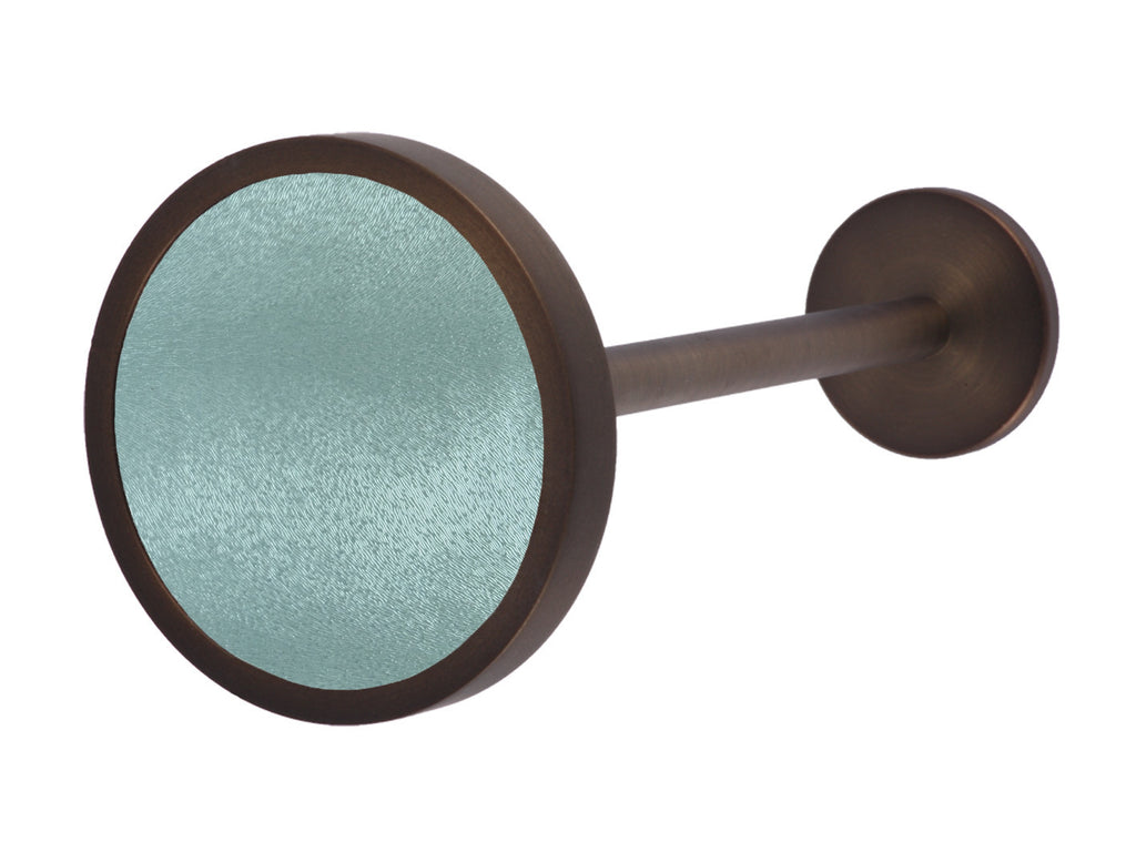 Bronze curtain tie back in arctic green