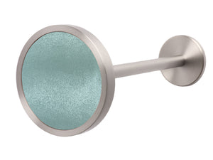 Silver metal curtain hold back in arctic blue