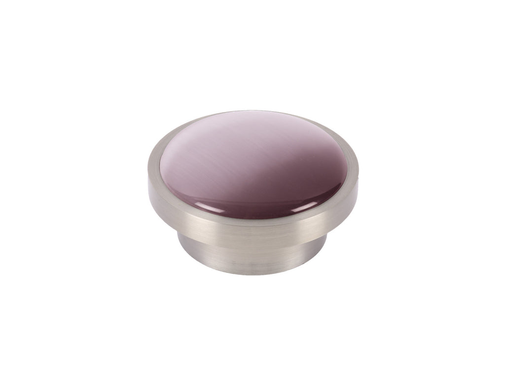 Pink glass moonstone disc curtain pole finial in Crocus
